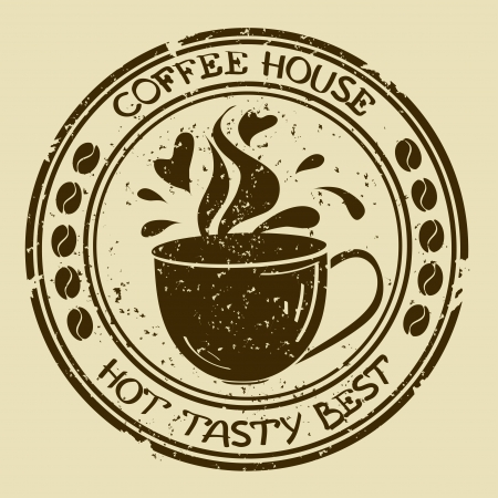 Vintage coffee house stamp with cup and splash Vector