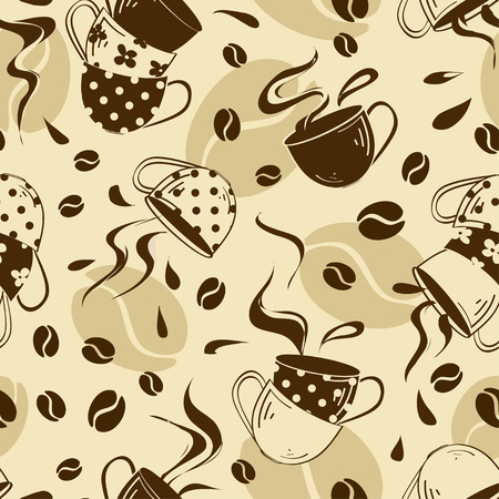Seamless pattern of coffee cups and beans Vector