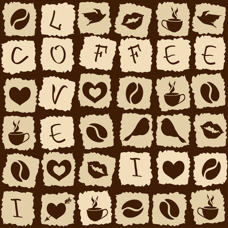 Seamless pattern of funny coffee puzzle Vector