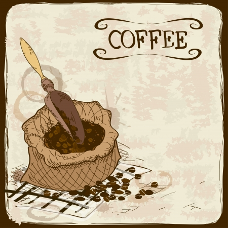 Vintage illustration with coffee beans, bag and scoop Vector