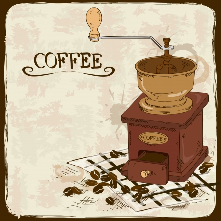 Illustration with vintage wood coffee grinder and beans