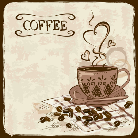 Vintage hand drawn coffee with ancient patterned cup and beans Vector