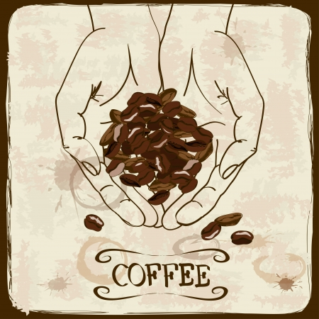 Vintage illustration with human hands holding coffee beans Vector