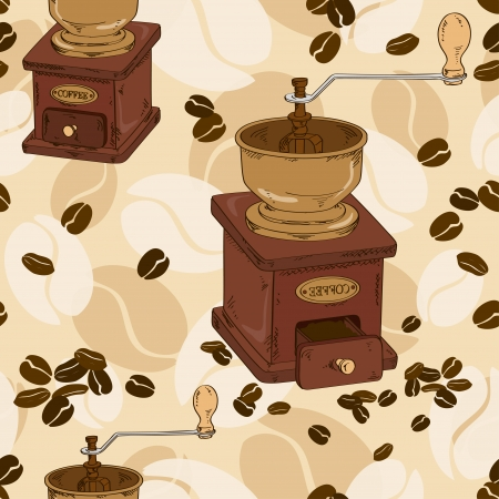 Seamless pattern of coffee grinder and beans Illustration