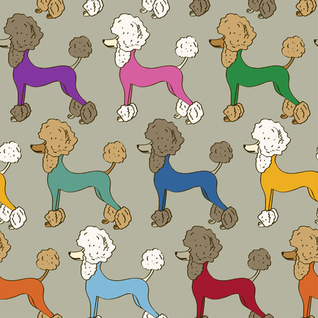 jumpsuit: Seamless pattern of funny cartoon colorful poodle dogs Illustration