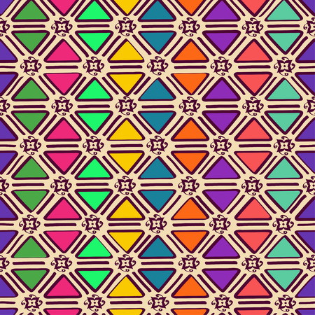 Abstract colorful ethnic geometric seamless pattern Vector