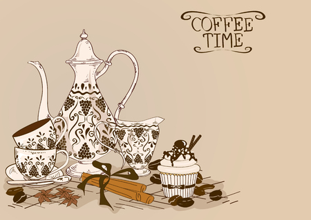 turkish dessert: Illustration with vintage coffee pot, cups, milk jug, cupcake and beans