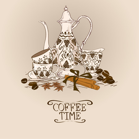 Illustration with vintage coffee pot, cups, milk jug and beans Vector