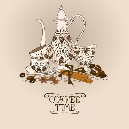 turkish dessert: Illustration with vintage coffee pot, cups, milk jug and beans Illustration