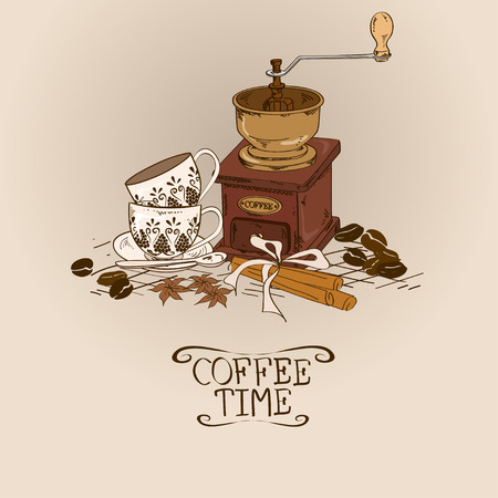 Illustration with vintage coffee grinder, cups, spices and beans Vector