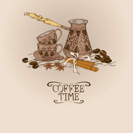 Illustration with vintage coffee turk copper, cups, spices and beans Vector
