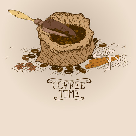 coffee sack: Illustration with bag of coffee, scoop, spices and beans Illustration