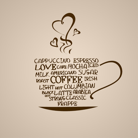 tarde de cafe: Aislado icono de la taza de caf� hecha de palabras Vectores