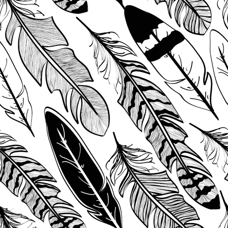 swelled: Seamless pattern of tribal black bird feathers on white background Illustration