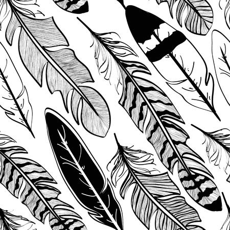 lightness: Seamless pattern of tribal black bird feathers on white background Illustration