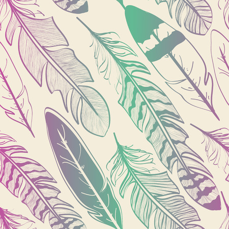 american dream: Seamless pattern of tribal pink green bird feathers on beige background Illustration