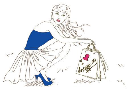 squat: Illustration with fashion squat girl holding shopping bags Illustration