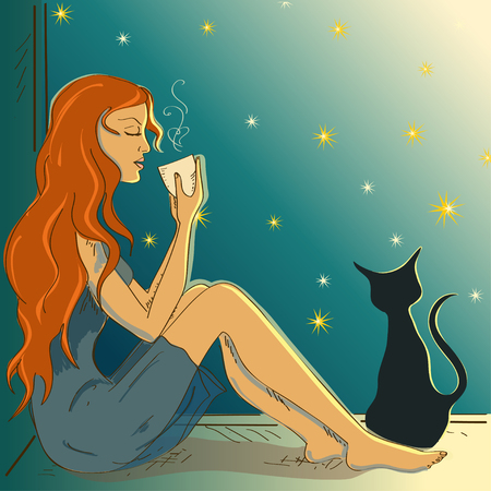 windowsill: Illustration with beautiful girl sitting on a windowsill and holding hot cup of drink