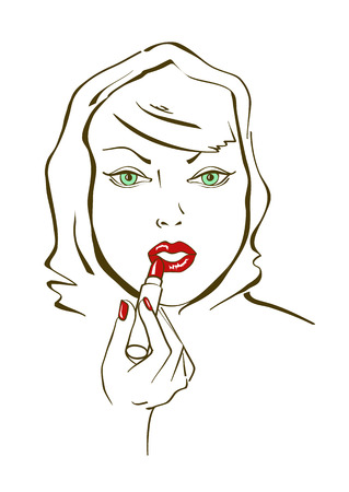 Illustration with young beautiful face of woman aplying lipstick Vector