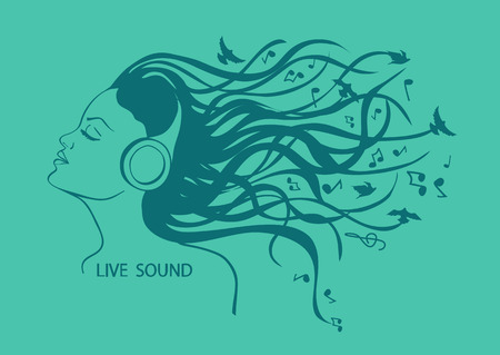 Illustration with isolated portrait of girl listening to music in headphones