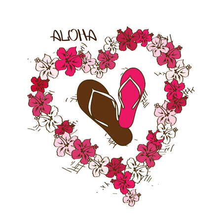 Zomer illustratie met slippers en Hawaiiaanse lei bloemen krans Stock Illustratie