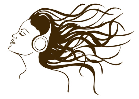 headphones woman: Illustration with isolated portrait of girl listening to music in headphones