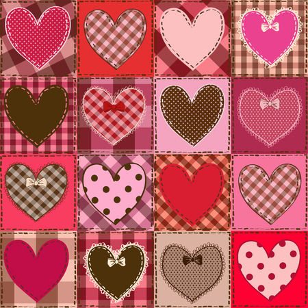 Seamless pattern of fancy red pink heart patchworks  Vector