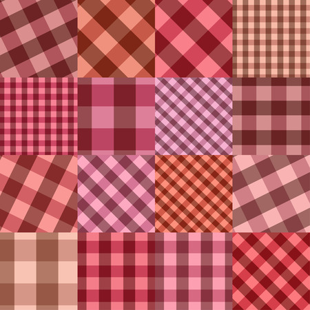 a pink cell: Seamless background of Scottish checkered pattern patchworks