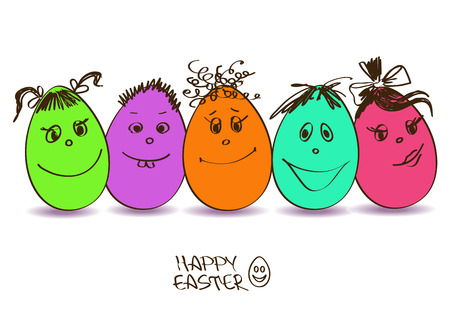Easter greeting card with funny colorful cartoon eggs  Vector