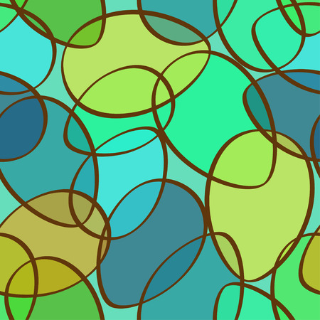 Seamless pattern of abstract blue green ellipses Vector