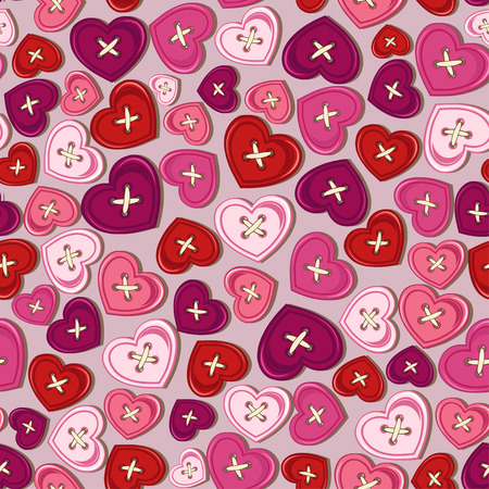 Seamless pattern of heart shape sewing buttons Vector