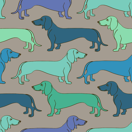 groomed: Seamless pattern of green blue Dachshund dogs
