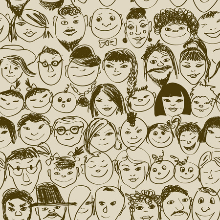Seamless pattern with doodle portraits of smiling crowd people Stock Vector - 26466560
