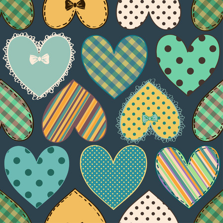 Seamless pattern of scrapbook colorful fabric hearts Vector