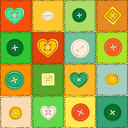 Seamless pattern of colorful patchworks and sewing buttons Vector