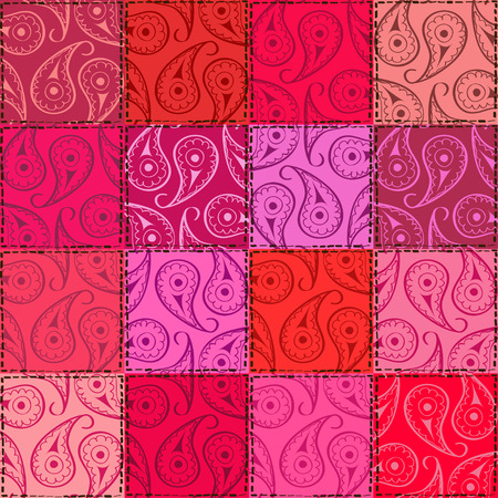 Pink red fancy paisley seamless pattern of patchworks  Vector