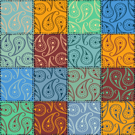 Colorful fancy paisley seamless pattern of patchworks Vector