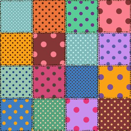 blue blanket: Colorful seamless pattern of polka dot patchworks Illustration