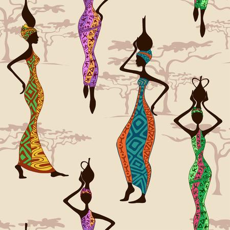 etnia: Patrón transparente de hermosas mujeres africanas con jarrones Vectores
