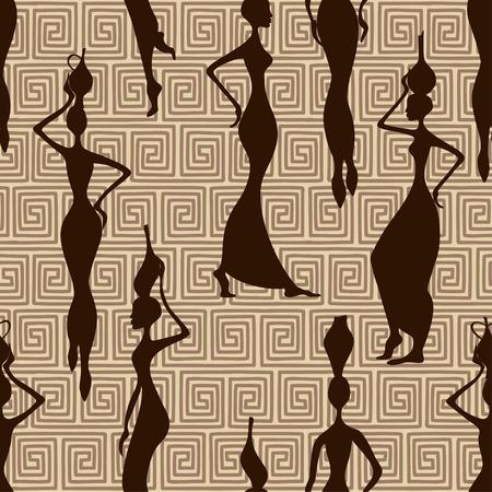 花瓶と美しいアフリカ女性のシームレス パターン
