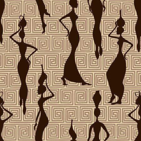 Seamless pattern of beautiful African women with vases Ilustração