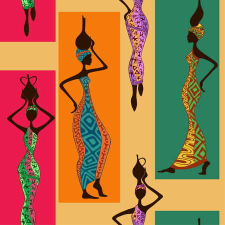 native african ethnicity: Seamless pattern of beautiful African women with vases Illustration