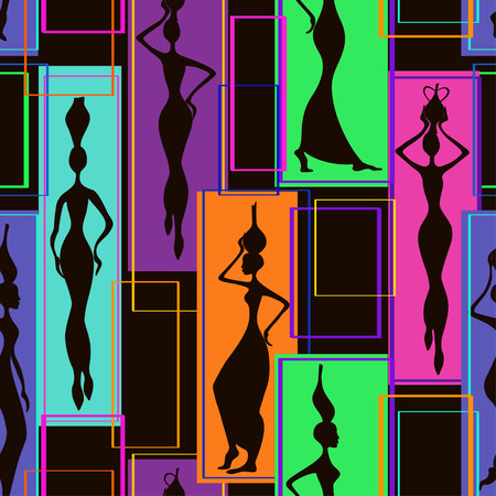 african american woman silhouette: Colorful abstract geometric seamless pattern of beautiful African women with vases