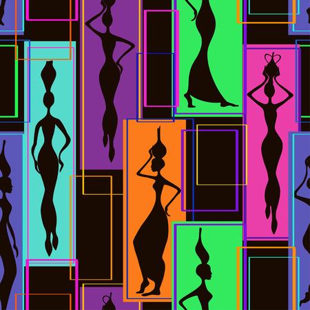 etnia: Geométrico abstracto Modelo inconsútil colorido de hermosas mujeres africanas con jarrones Vectores