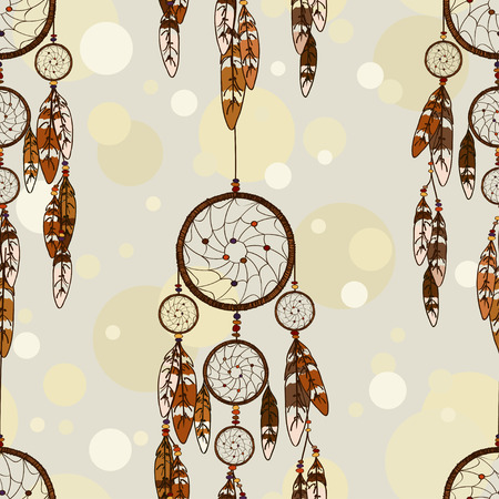 american indians: Vintage seamless pattern of American Indians dreamcatcher