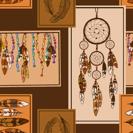 american indians: Geometric seamless pattern of American Indians dreamcather and feathers