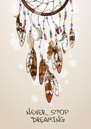 tollas: Etnikai illusztráció amerikai indiánok dreamcatcher