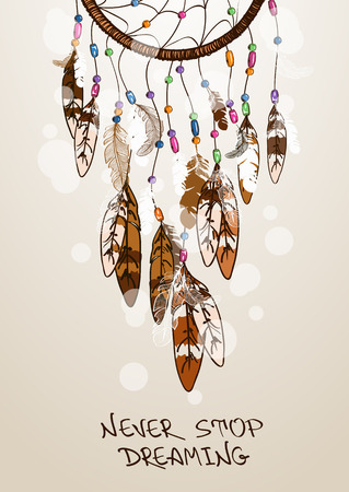 atrapasueños: Ilustración étnico con los indios americanos atrapasueños