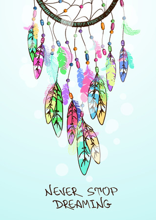 colorful beads: Colorful ethnic illustration with American Indians dreamcatcher