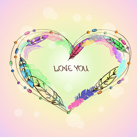 Love card with colorful bird feathers and beads in shape of heart Illustration